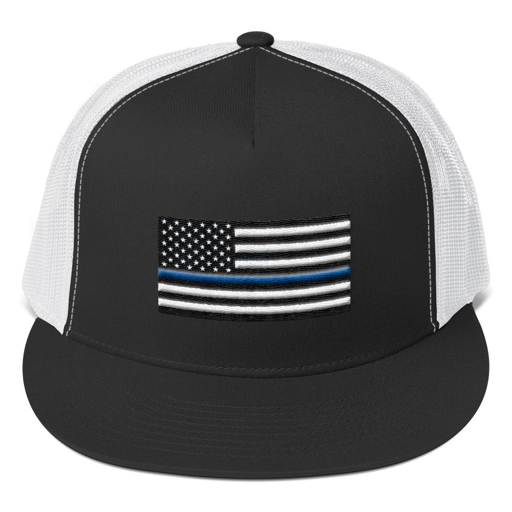 Thin blue line American flag Trucker Cap